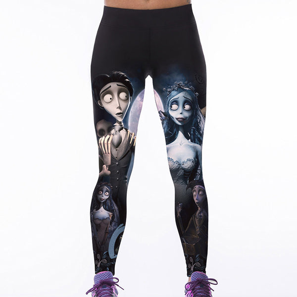 Women Corpse Bride Leggings Fitness Workout Cheerleader Rooter Pants Hiphop Party Elastic Fiber Unisex Trousers