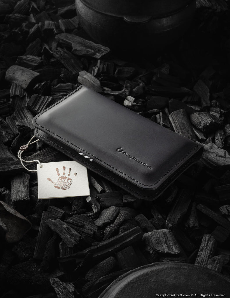 Leather wallet / case for two phones | Carbon Black