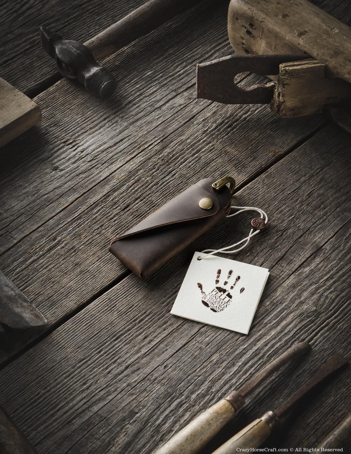 Minimalist Leather Key Organiser/Holder | Wood Brown