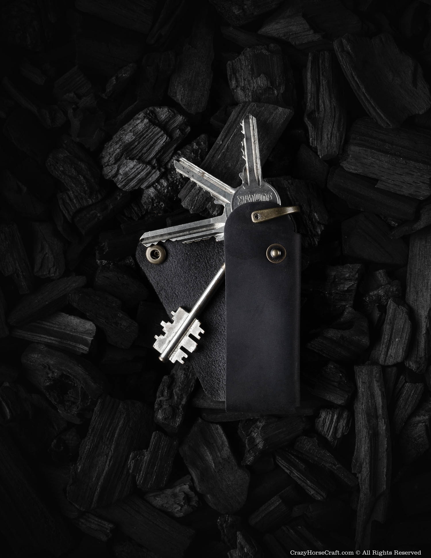 Minimalist Leather Key Organiser/Holder | Carbon Black