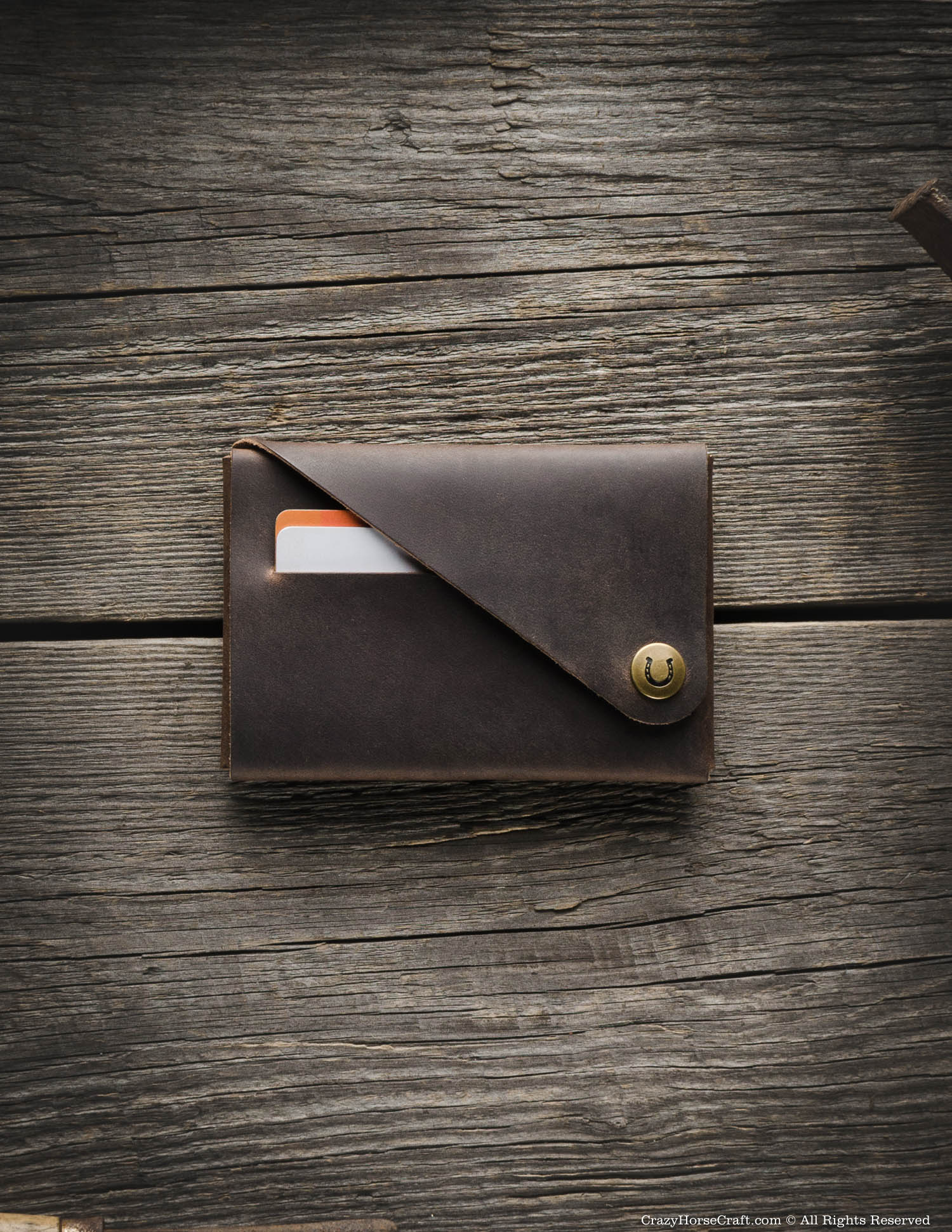 Minimalistic leather wallet/card holder | Wood Brown