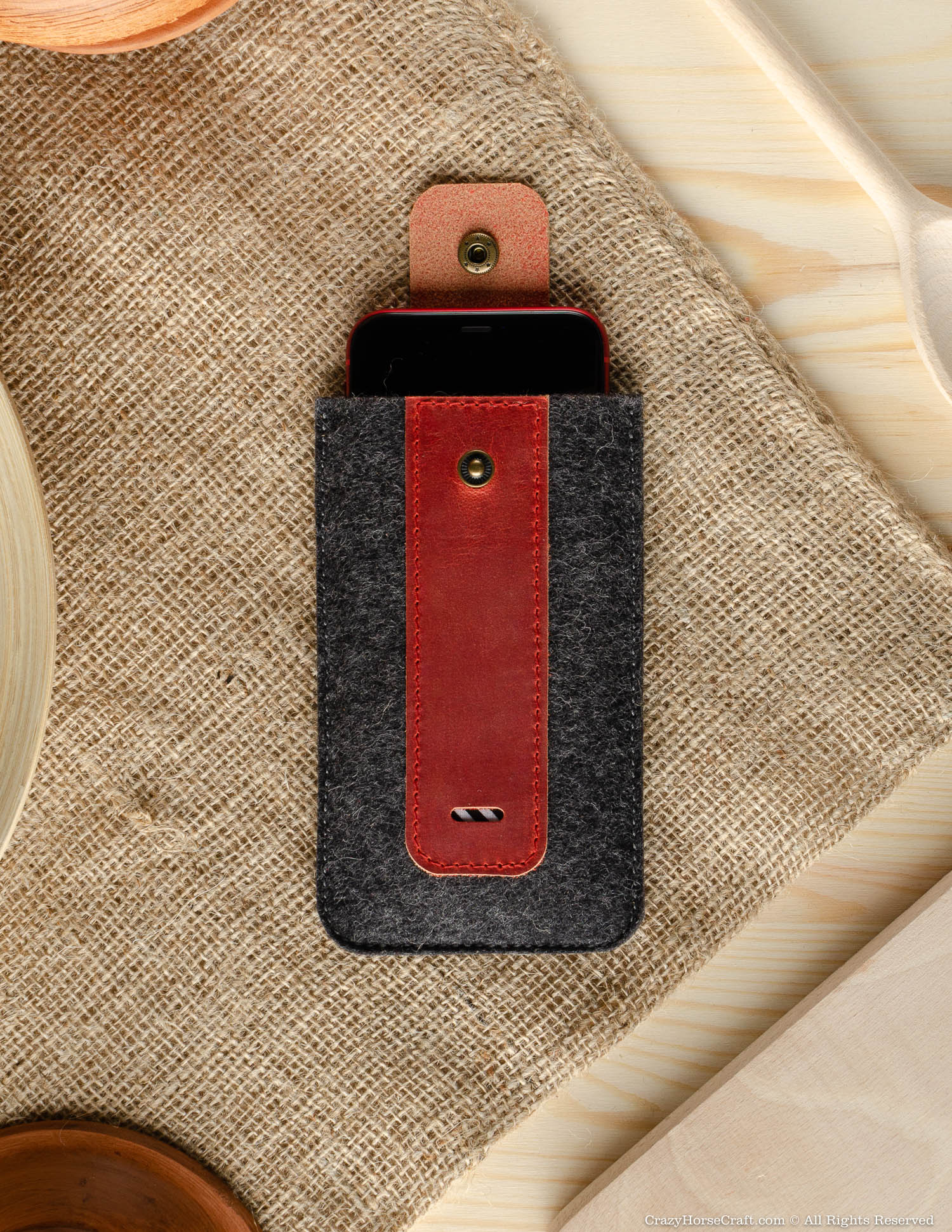 Wool Felt Phone Sleeve / Case | Fragola Red