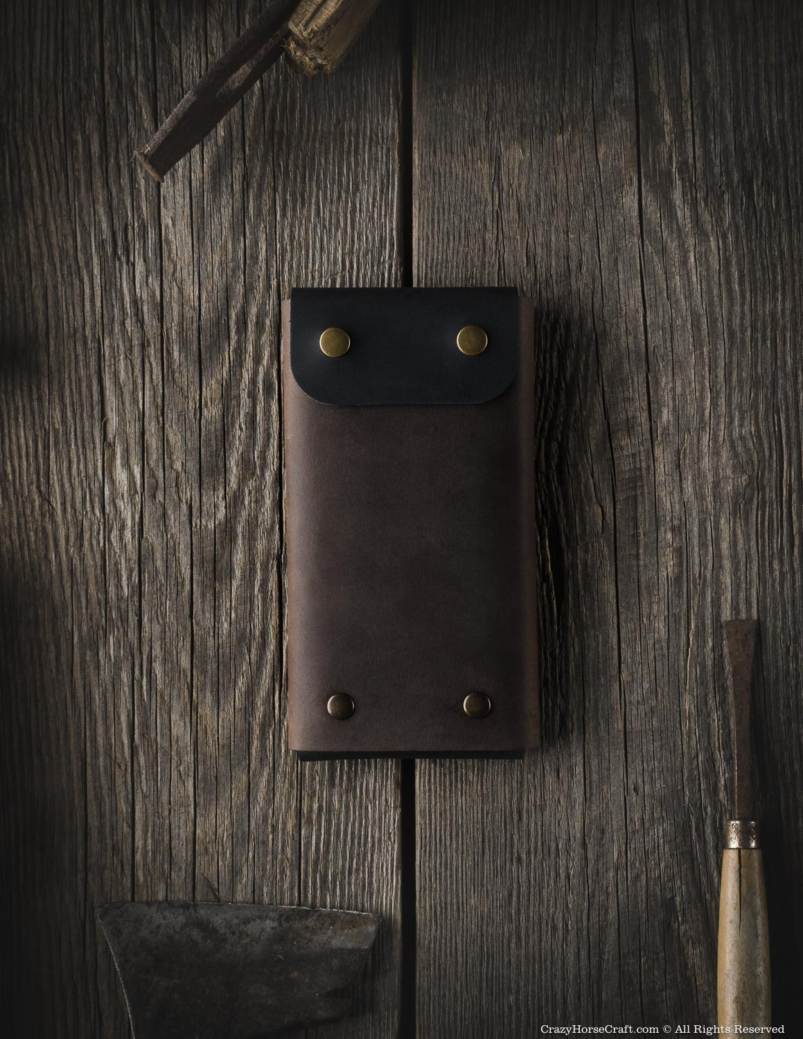 Minimalist leather wallet / phone case | Wood Brown
