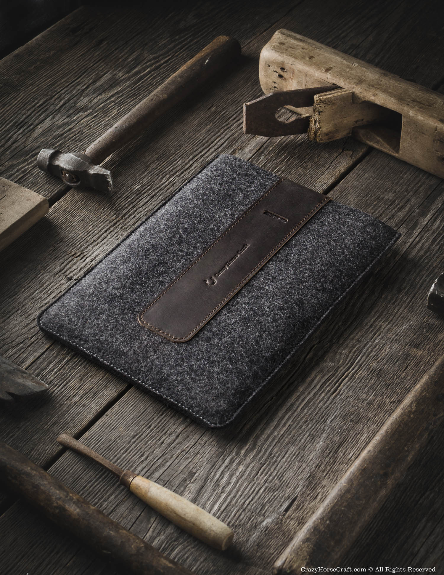 Wool Felt iPad Sleeve | Wood Brown