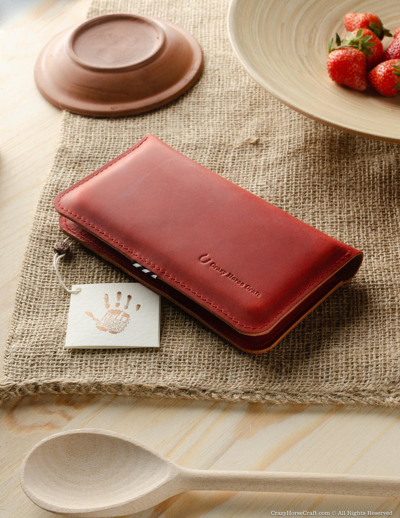Leather wallet / case for two phones | Fragola Red