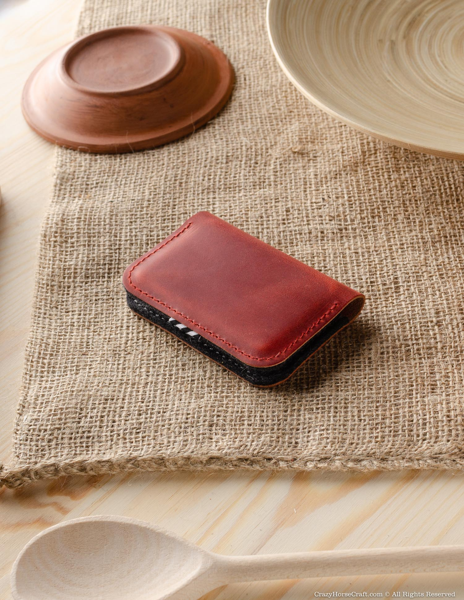 Leather Business & Credit Card Holder / Wallet | Fragola Red