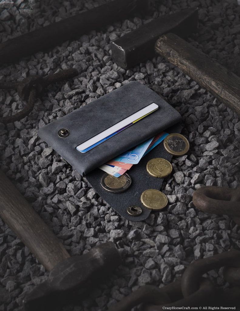Minimalistic leather wallet/card holder | Stone Grey