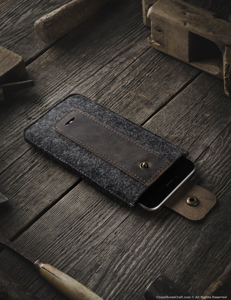 Wool Felt Phone Sleeve / Case | Wood Brown