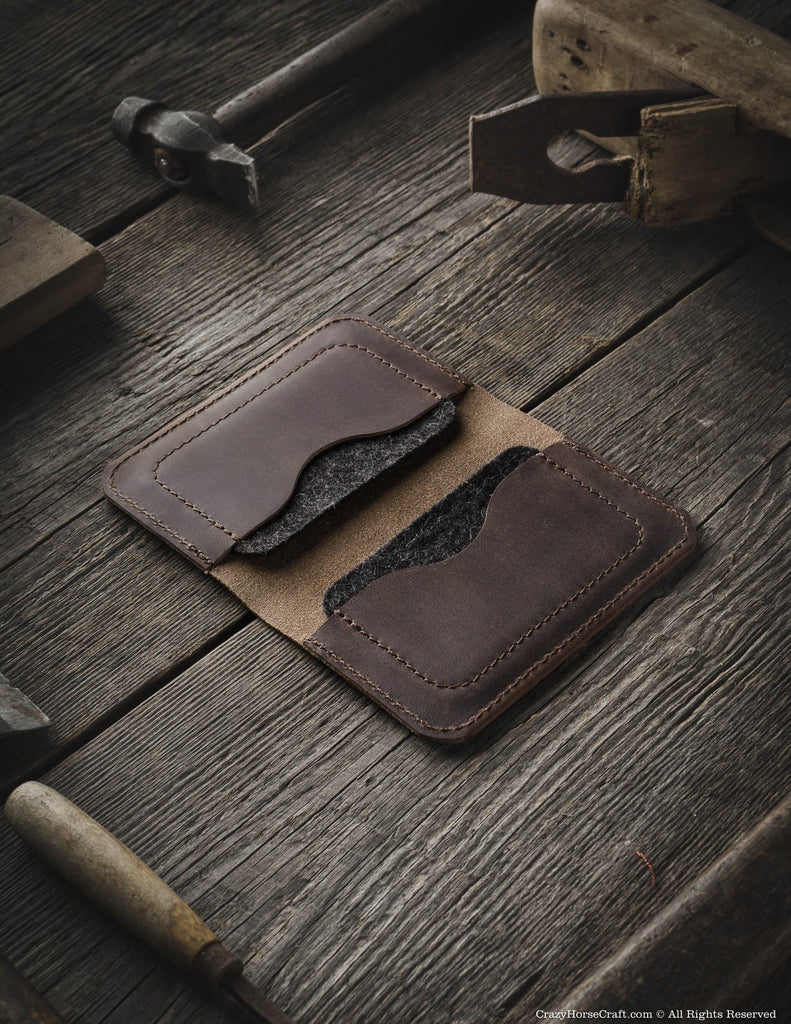 Vegetable tanned Leather Wallet & Credit Card Holder | wood Brown