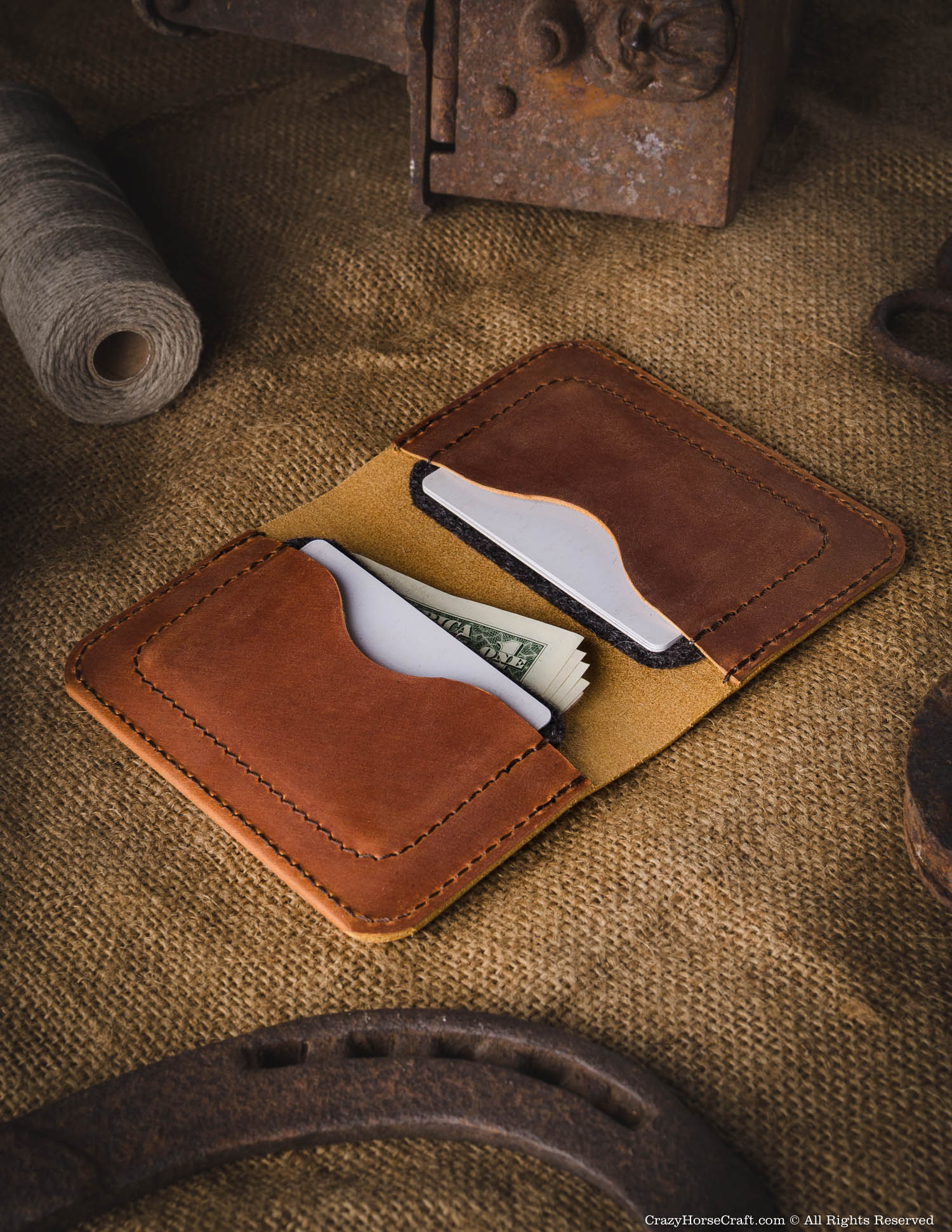 Vegetable tanned Leather Wallet & Credit Card Holder | Classic Brown