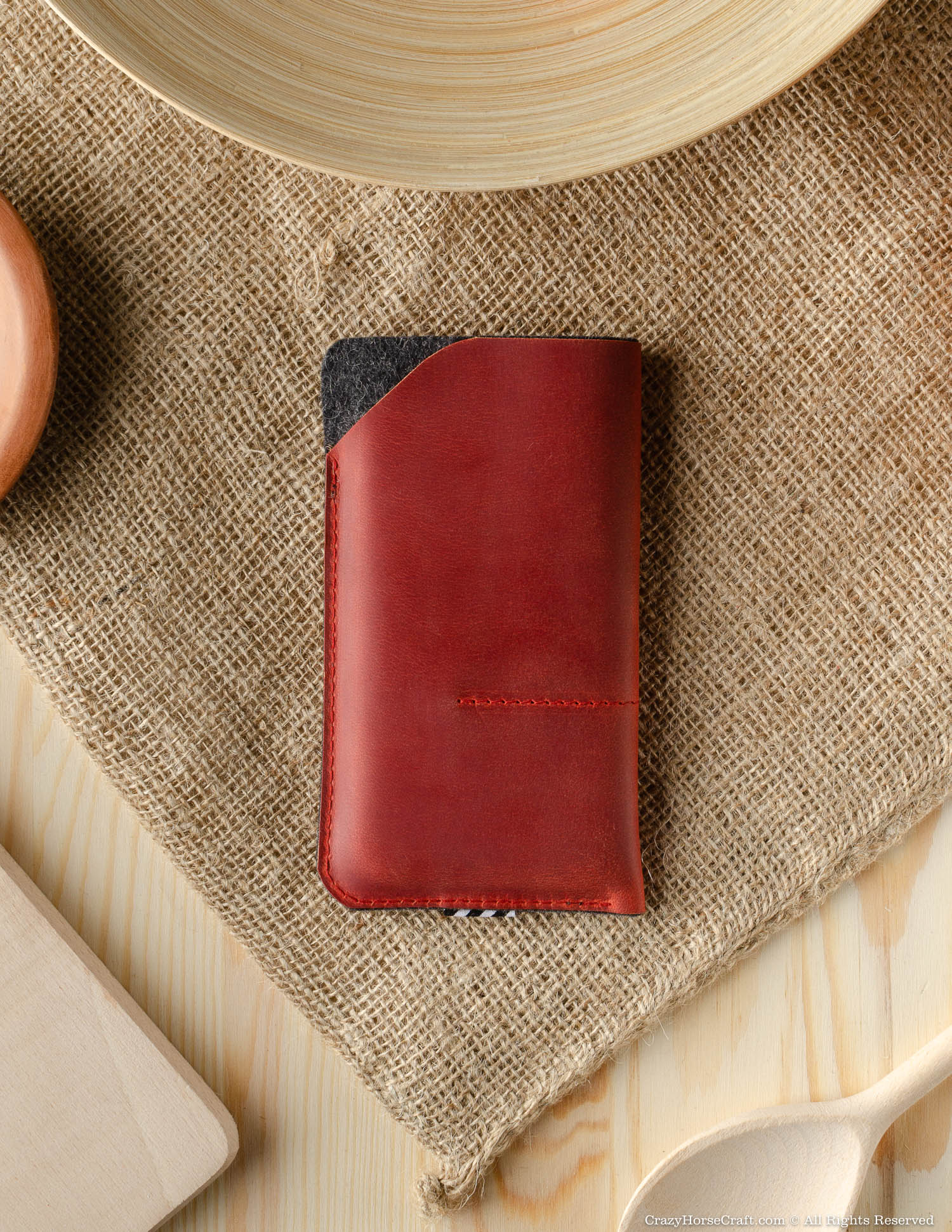 Leather Phone Case / Wallet with Card Pockets | Fragola Red