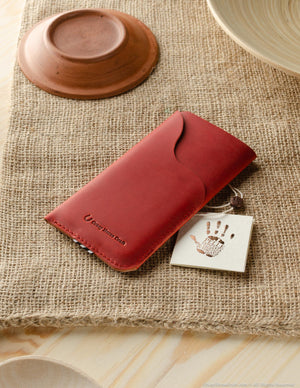 Leather Phone Case/Wallet with Card Pocket | Fragola Red
