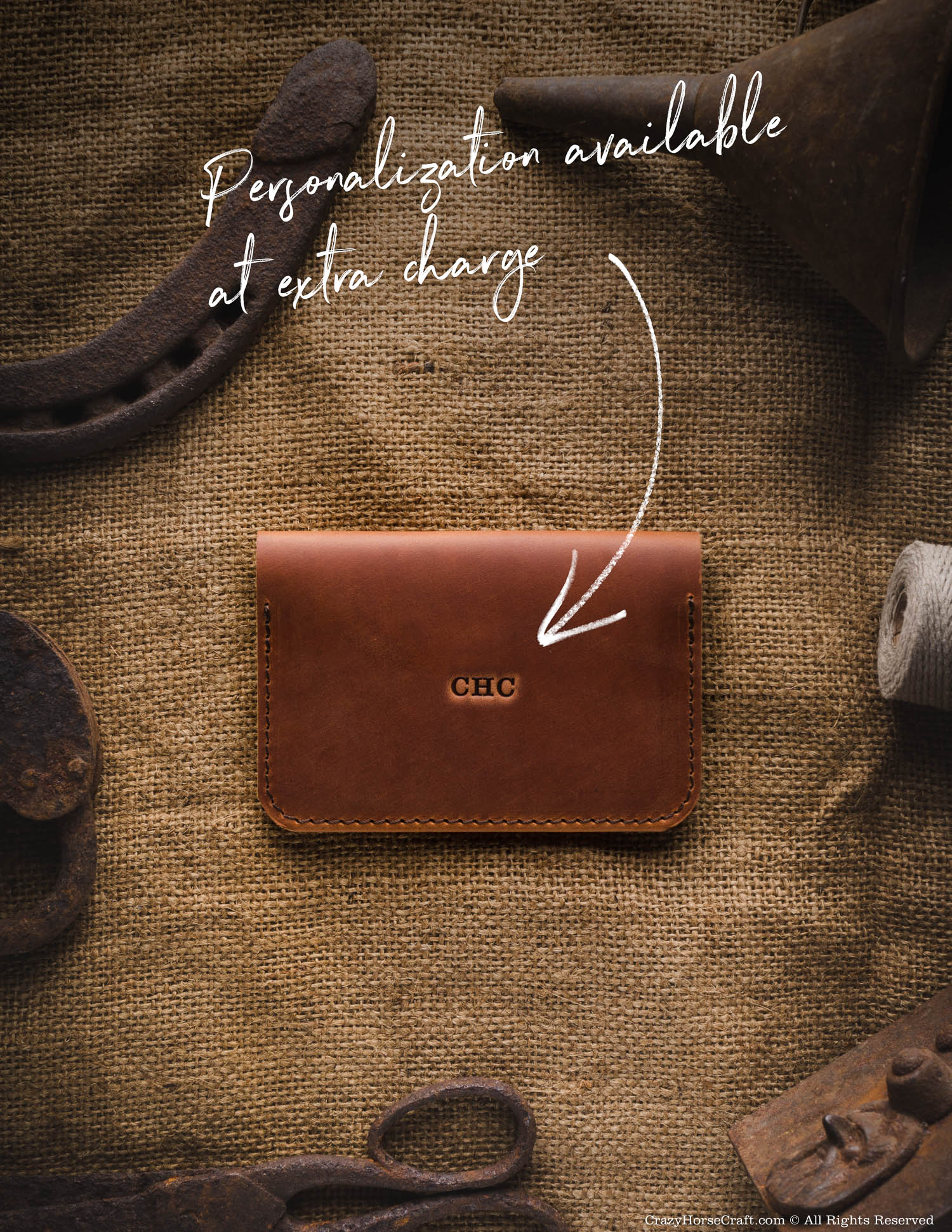 Vegetable tanned Leather Wallet personalization
