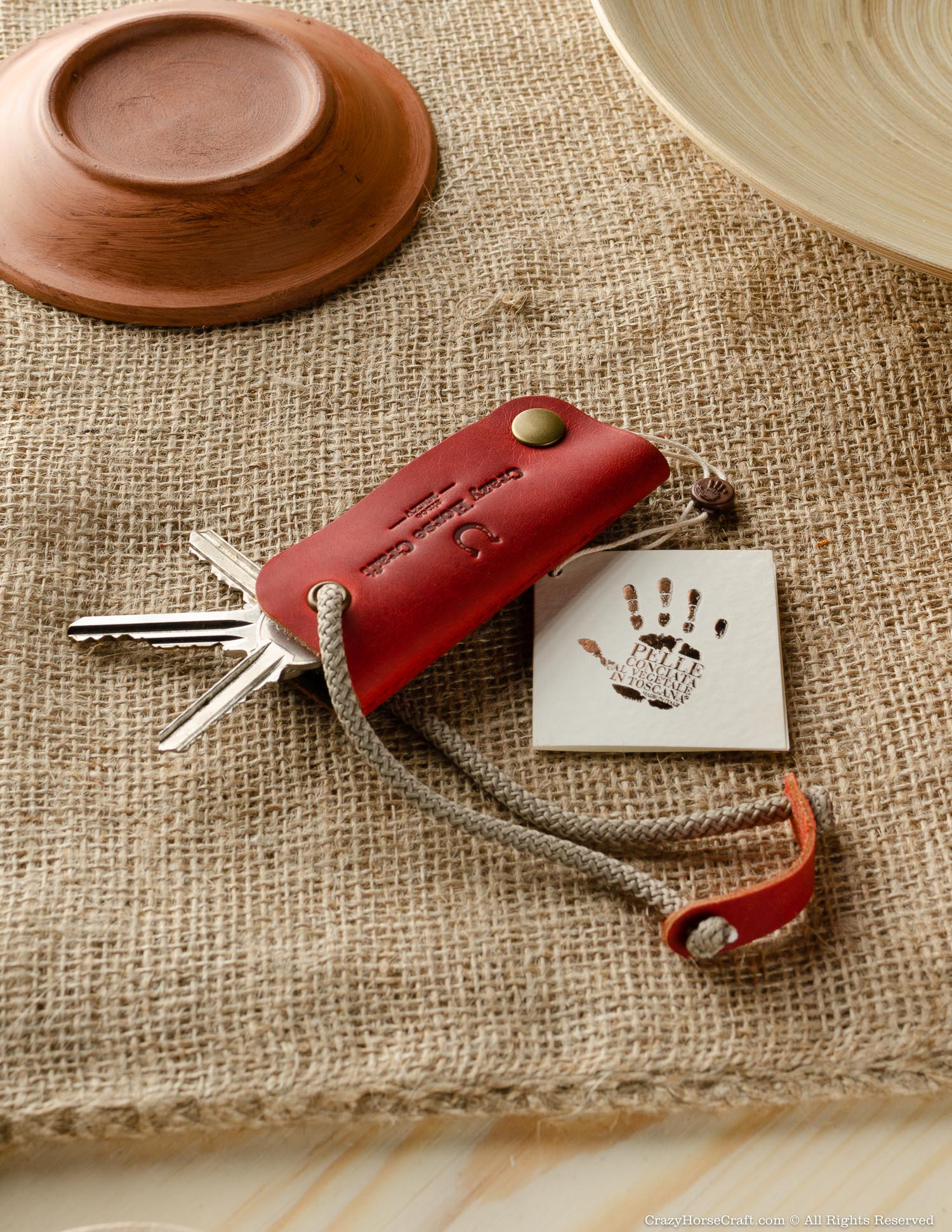 Leather Key Organiser & Holder | Fragola Red