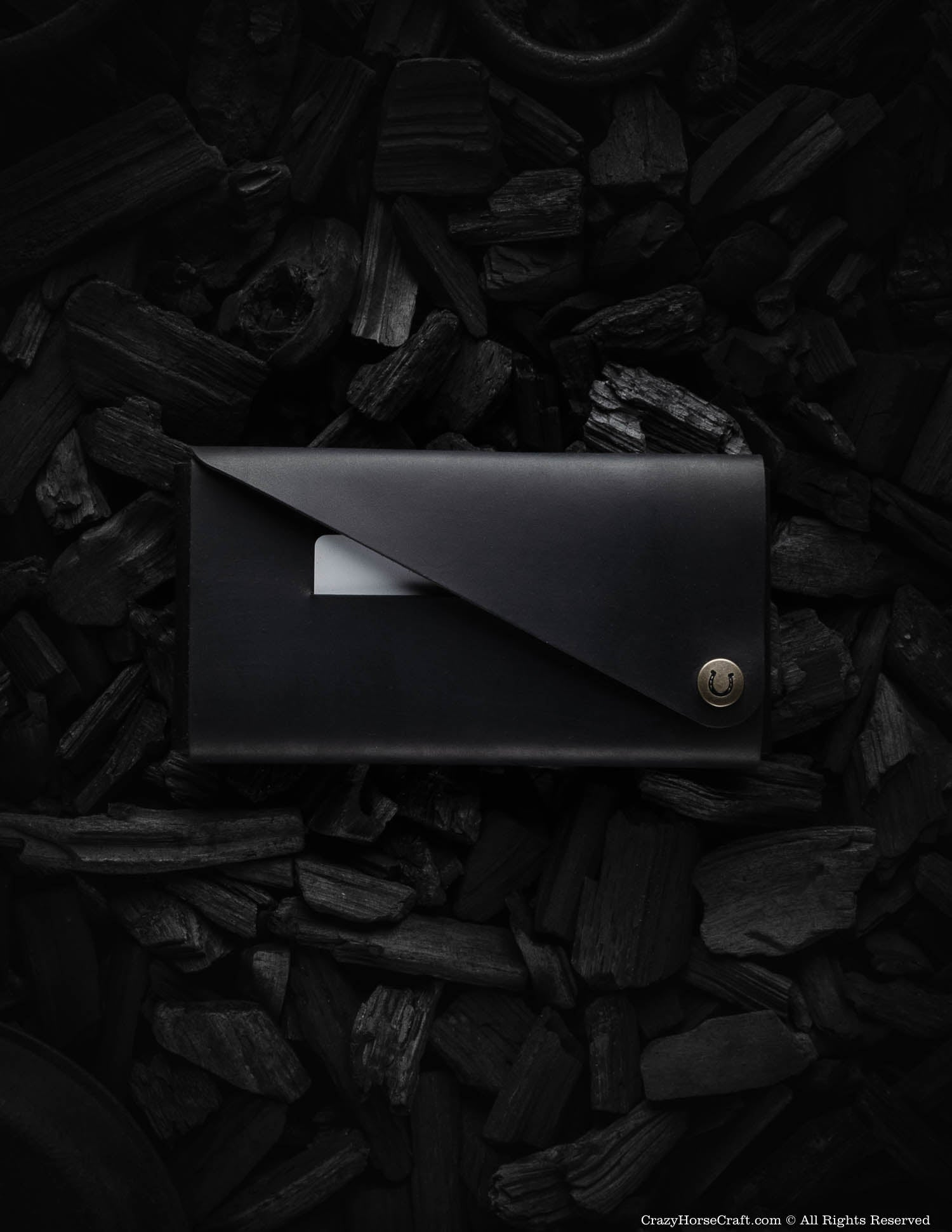 Minimalist Leather Wallet / Phone Case | Carbon Black
