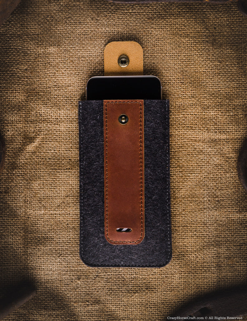 Wool Felt Phone Sleeve / Case | Classic Brown