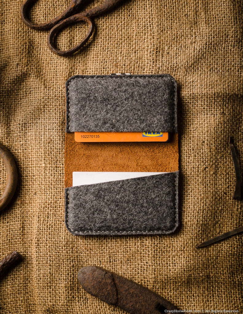 Business & credit card holder orange leather inside