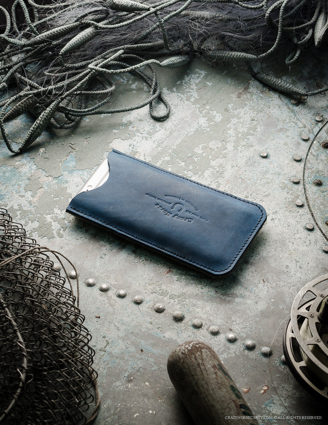 Leather iPhone Case with Card Pocket | Ocean Blue