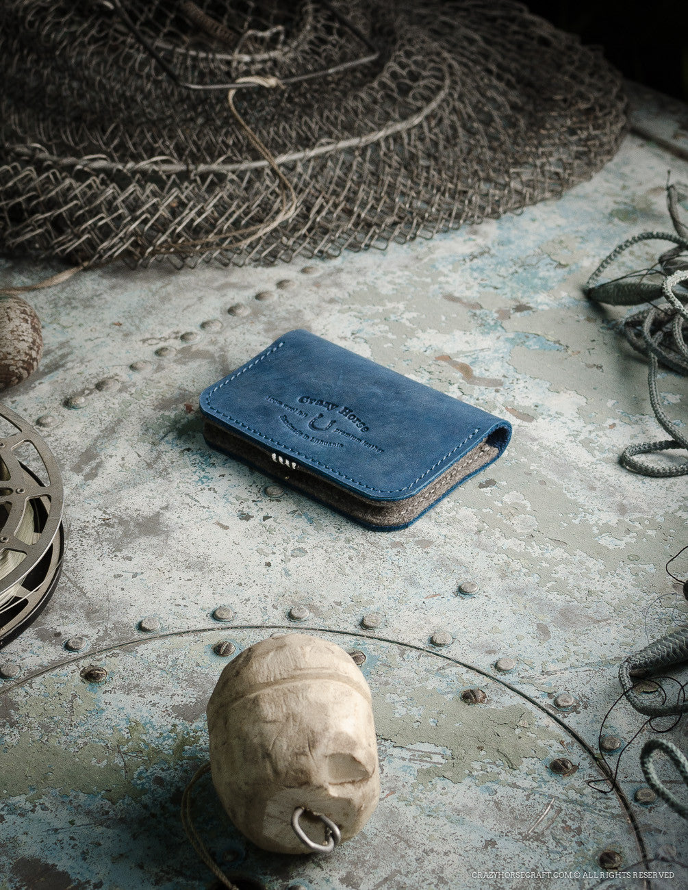 Leather Business & Credit Card Holder / Wallet | Ocean Blue