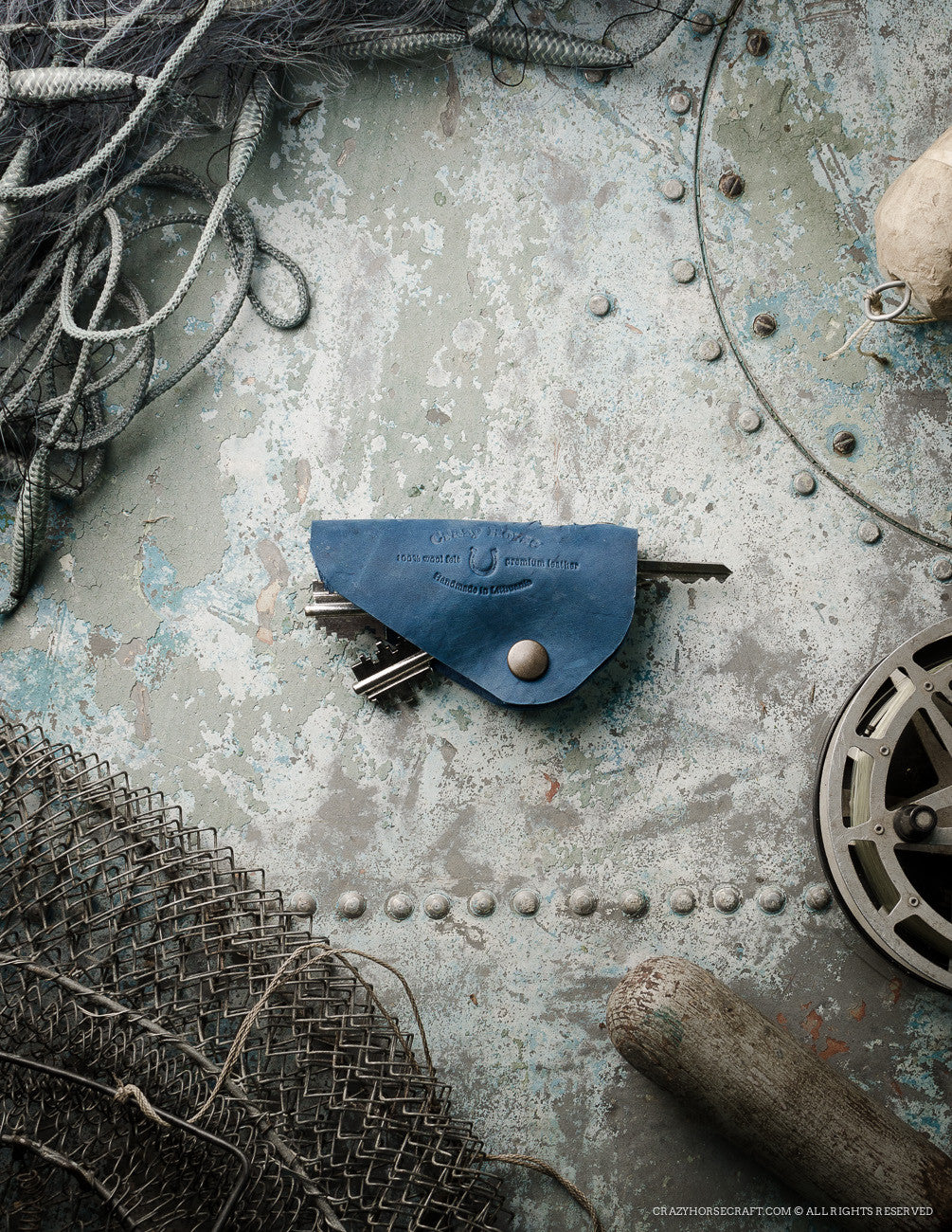 Leather Key Holder, Organizer | Ocean Blue