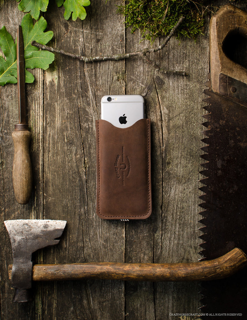 Leather iPhone Case With Card Pocket | Wood Brown Front