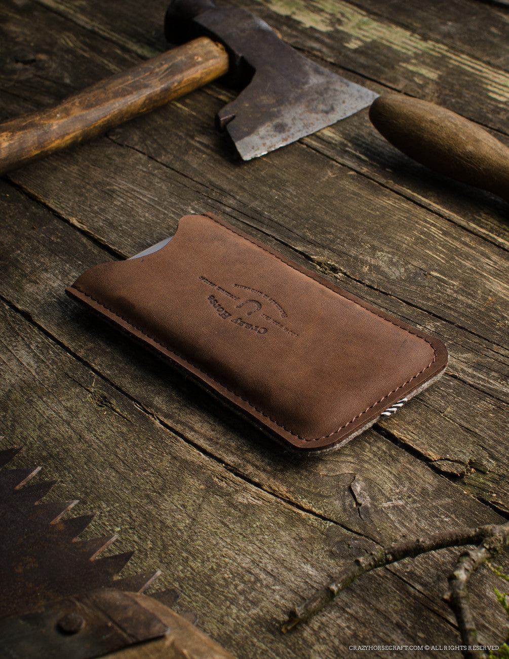 Leather iPhone Case With Card Pocket | Wood Brown Side