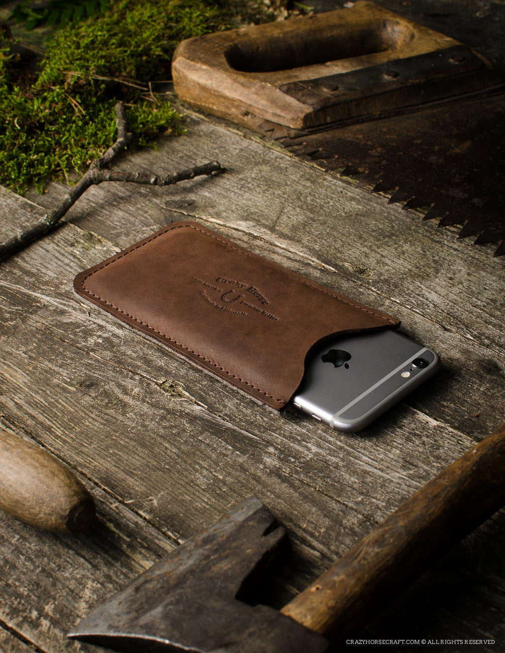 Leather iPhone Case With Card Pocket | Wood Brown with iphone 6s inside