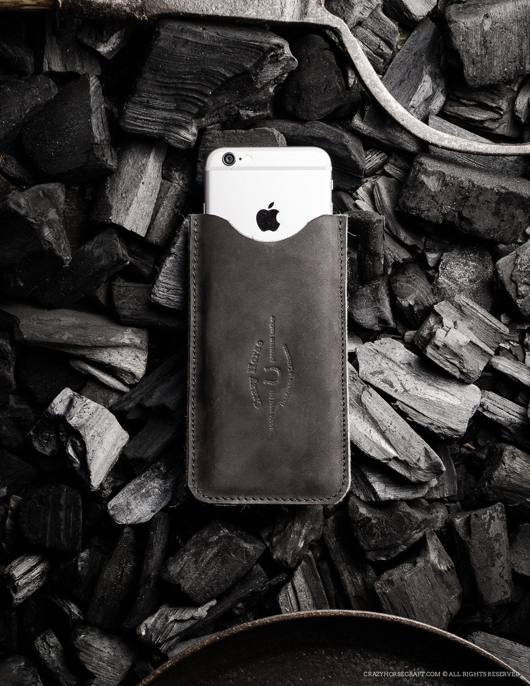 Leather iPhone Case with Card Pocket | Black
