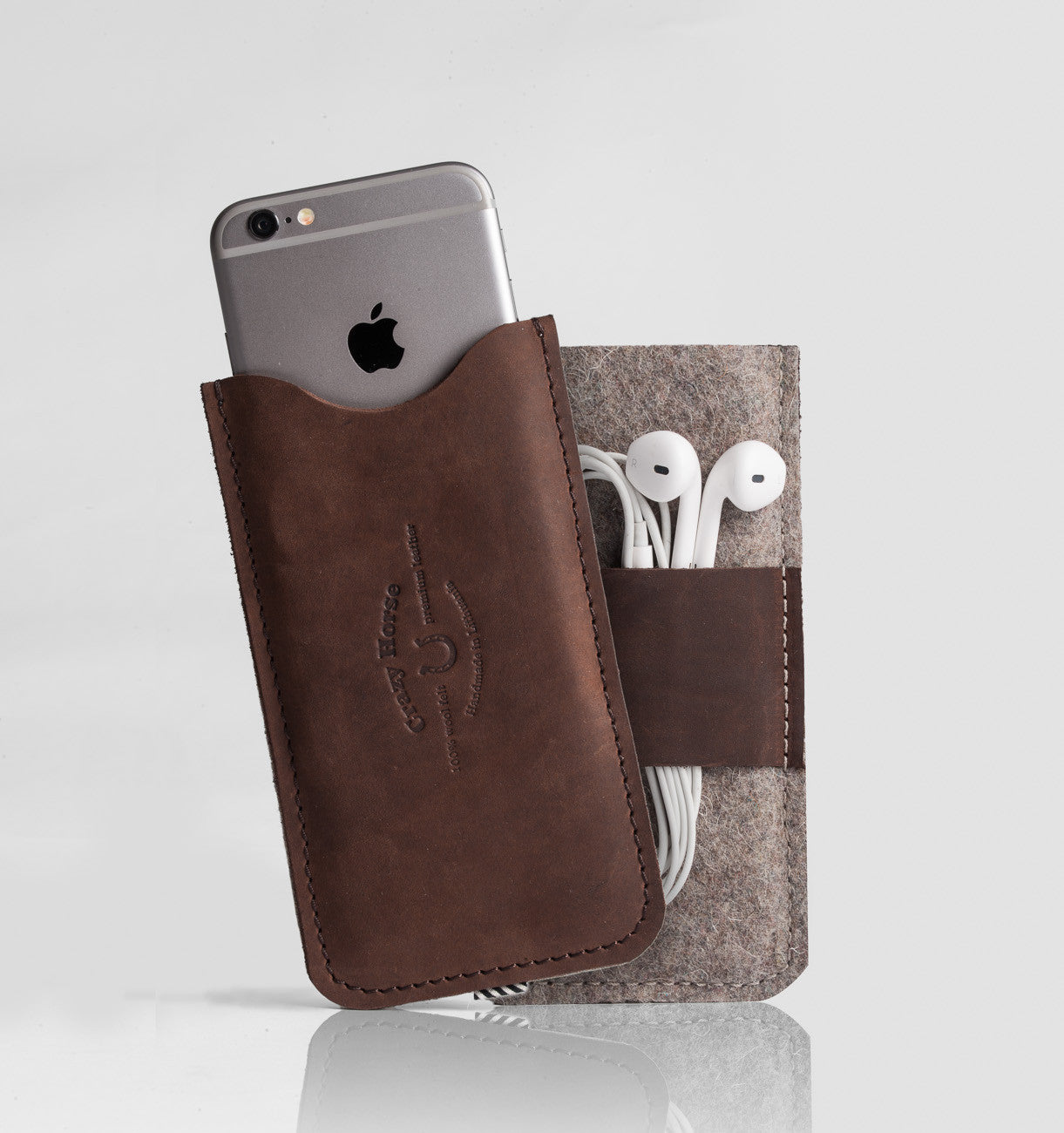 Leather iPhone Case With Earpods Holder | Wood Brown
