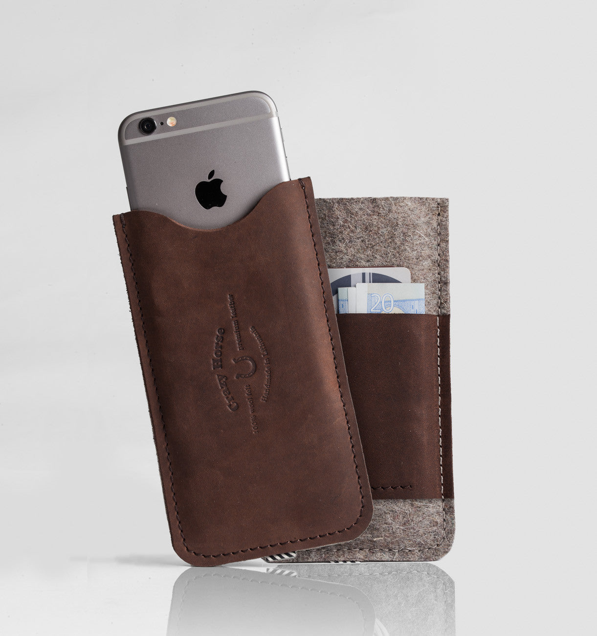 Leather iPhone Case With Card Pocket | Wood Brown front and back