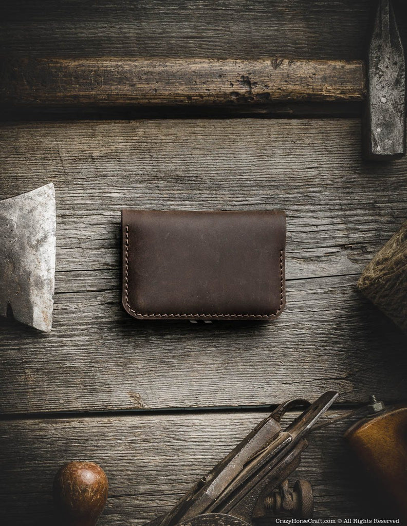 Leather vintage style wallet, brown, cardholder back
