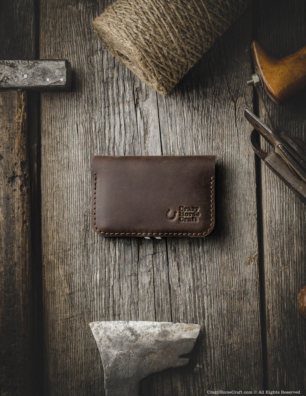Leather Business & Credit Card Holder / Wallet   Wood Brown ...