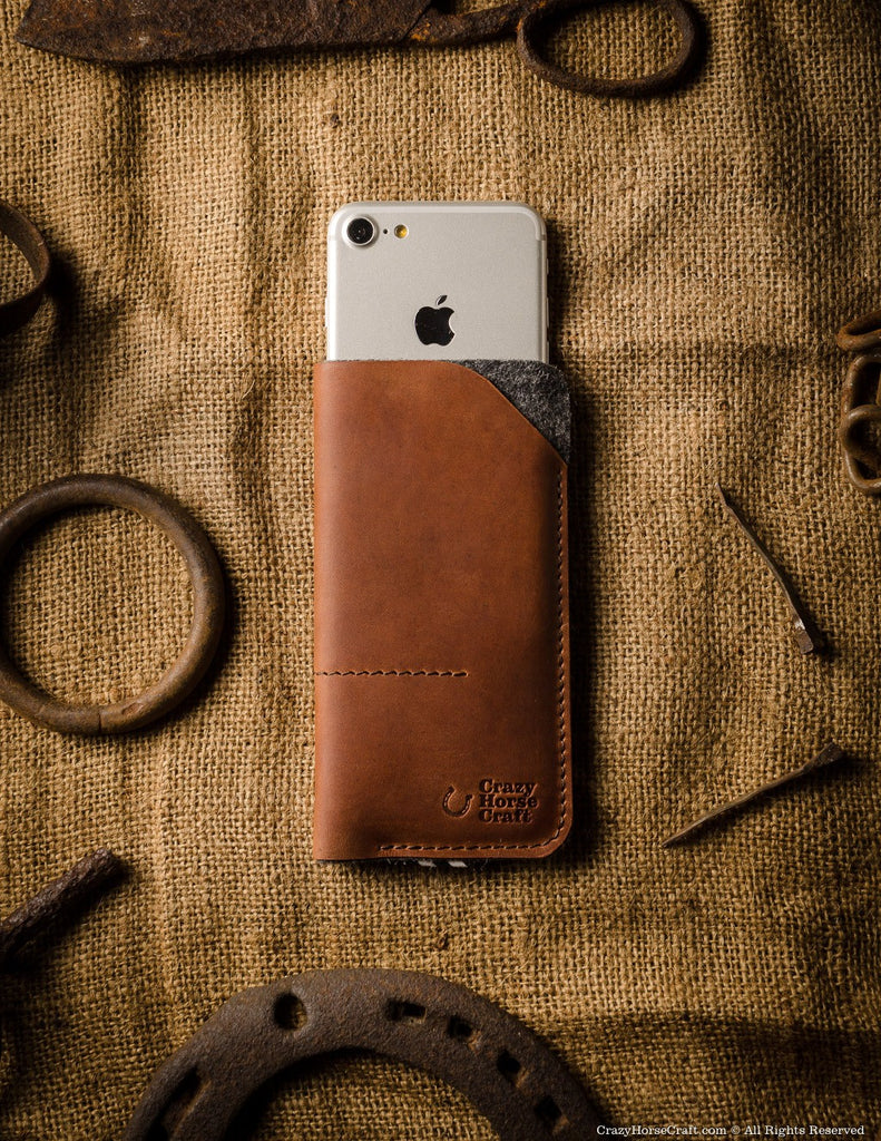 leather iphone 7 case wallet, wool felt, orange, Xs sleeve