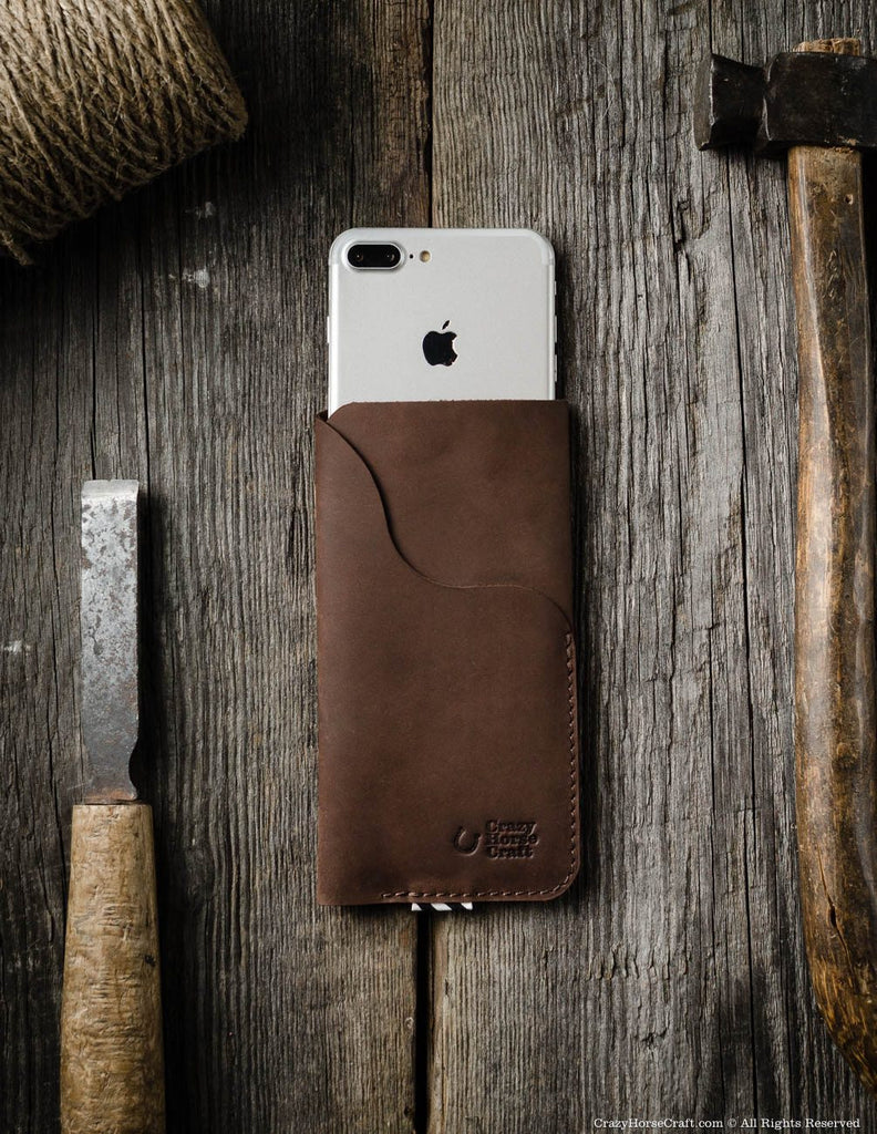 Leather iPhone 7 plus Case with Card Pocket brown