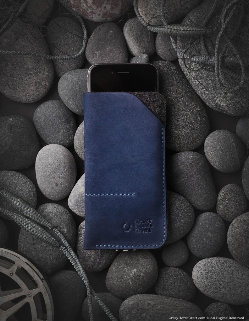 Leather iphone 8 case sleeve, blue, felt, front, leather iPhone Xs sleeve, iPhone Xr, New 2018 iphone apple case
