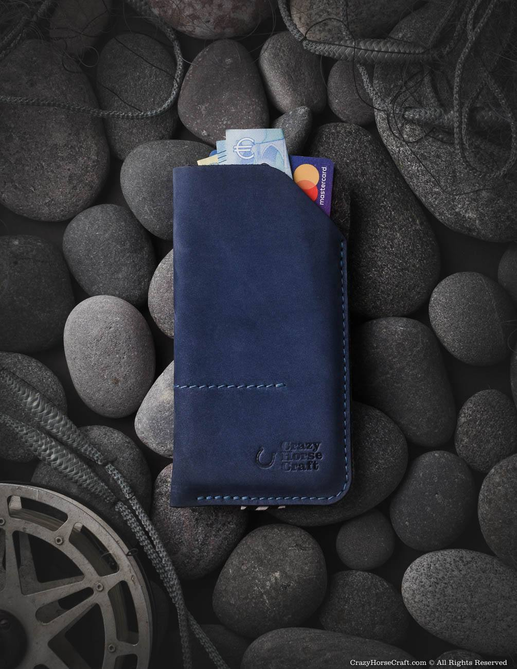 Leather iphone X case sleeve, blue, with credit card and cash pockets, new iPhone Xs, iphone Xr case, iPhone Xs Max wool felt sleeve, leather card holder