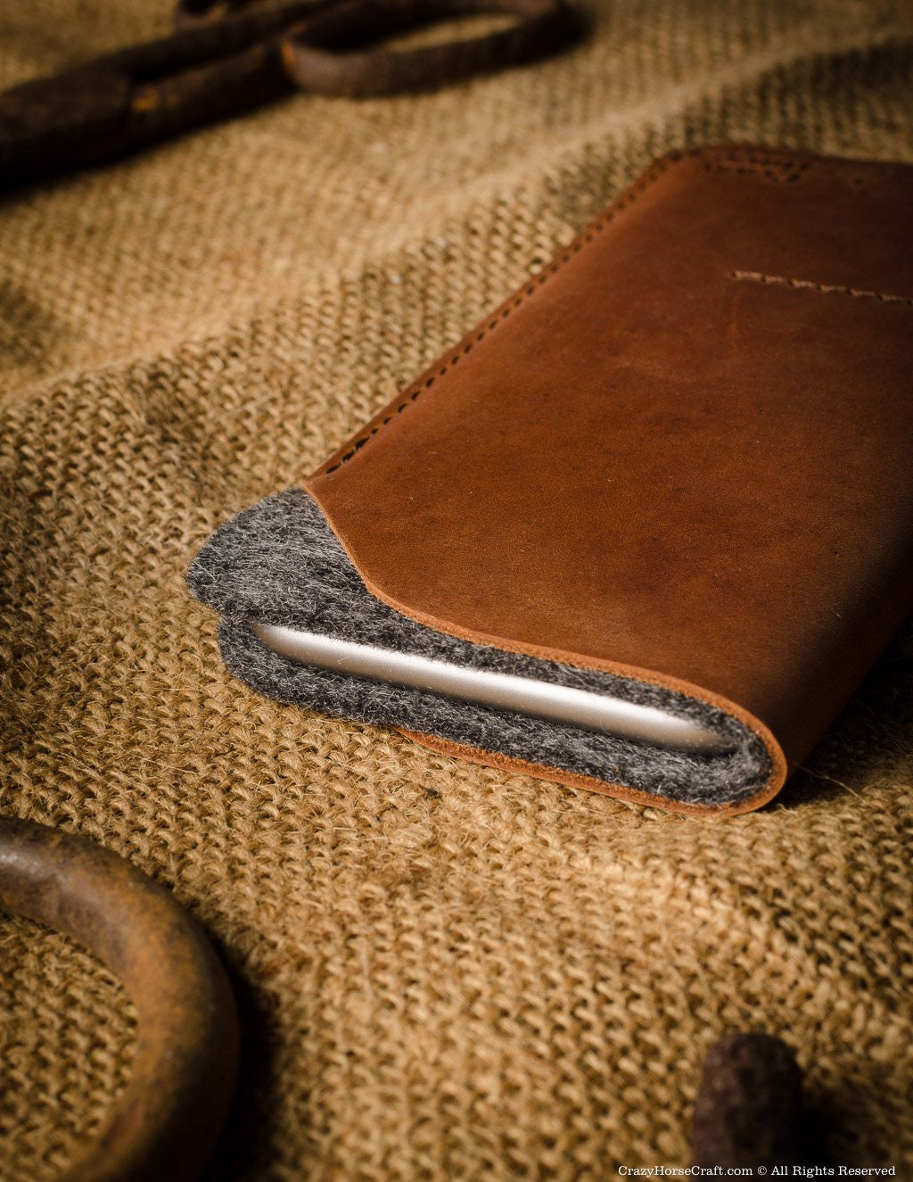 leather iphone Xs Max case wallet wool felt leather side