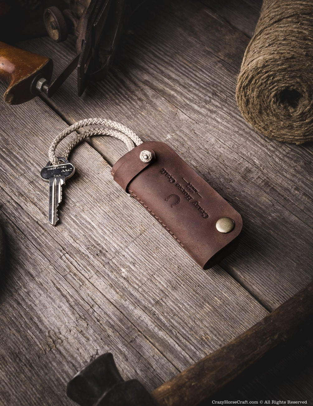 Leather key organiser, holder, brown side