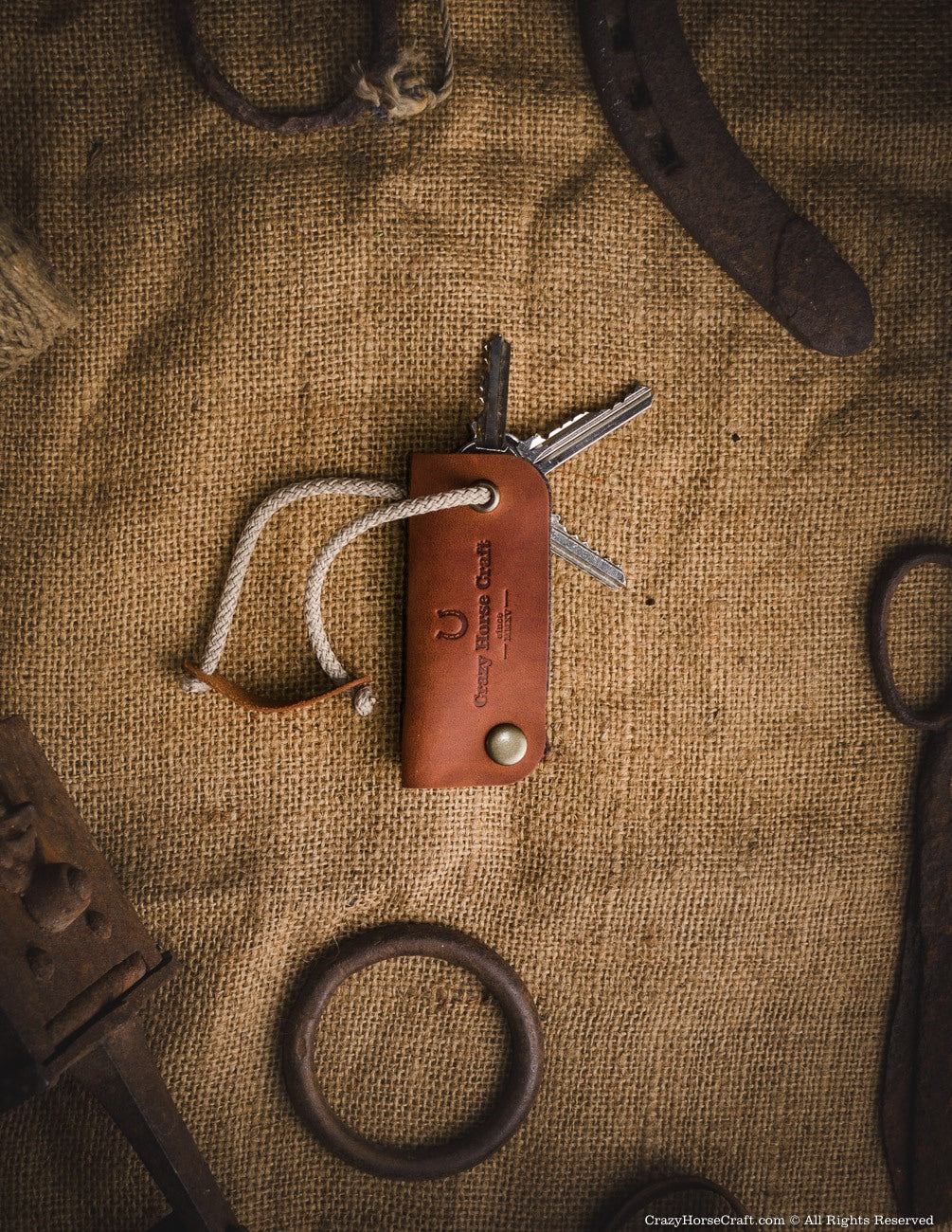 Leather key organiser wool felt, holder, brown front