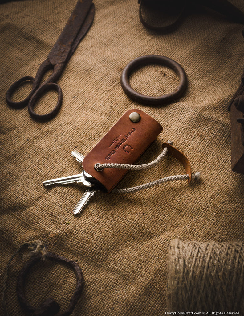 Leather key organiser, holder, brown