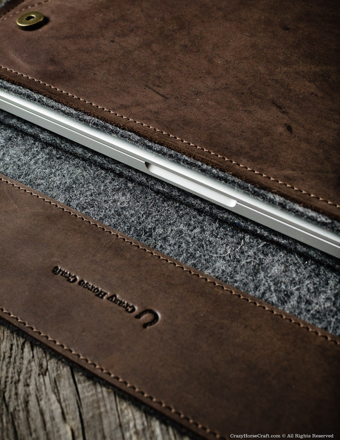 Leather MacBook Pro Case wool felt inside