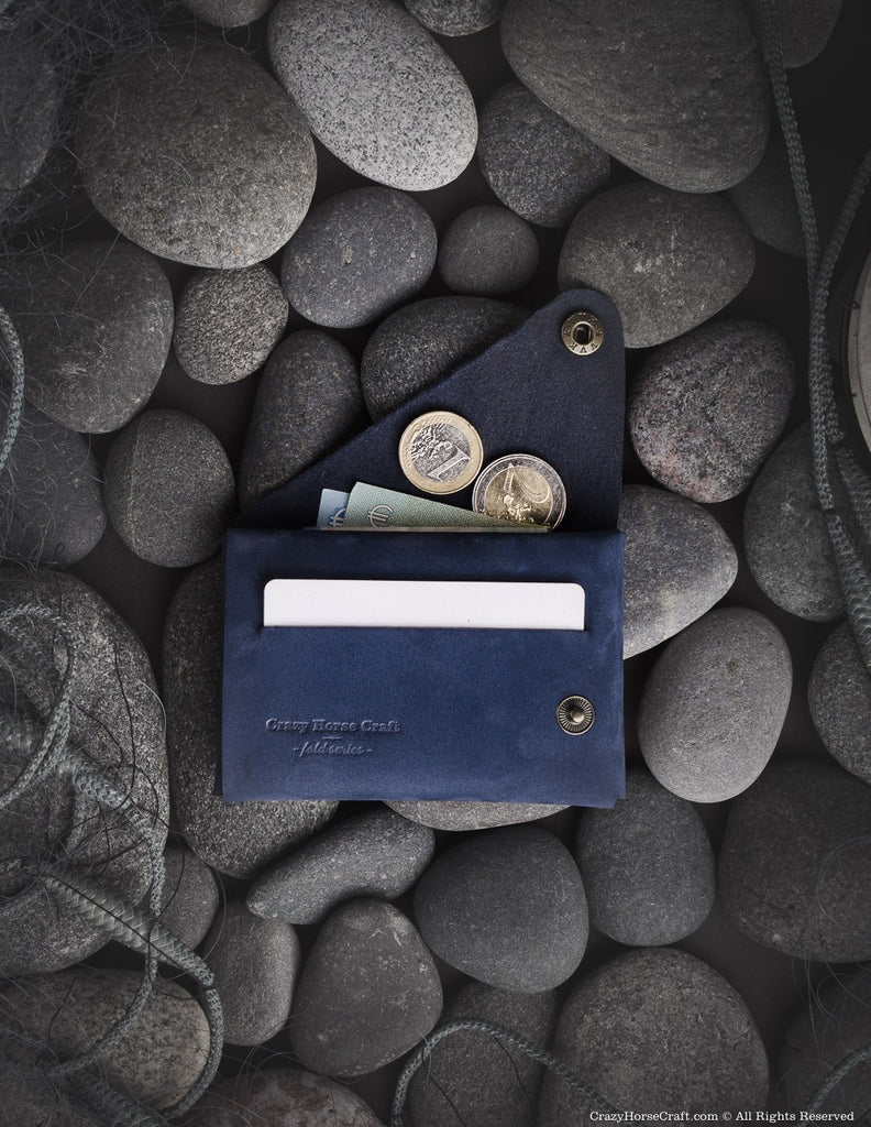 Minimalistic blue leather wallet/cardholder