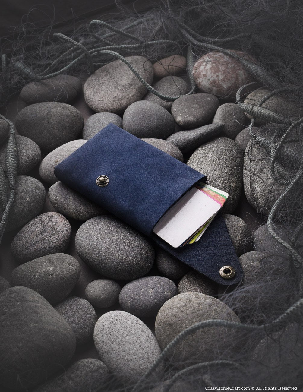 Nubuck leather blue wallet/cardholder