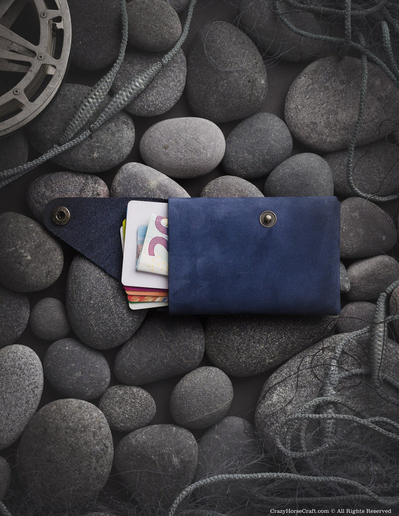 Minimalistic blue genuine leather wallet