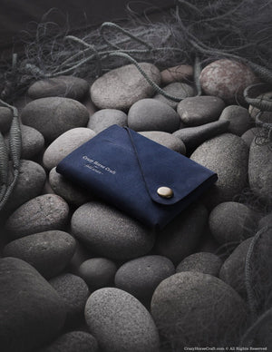 Minimalistic blue nubuck leather wallet/card holder