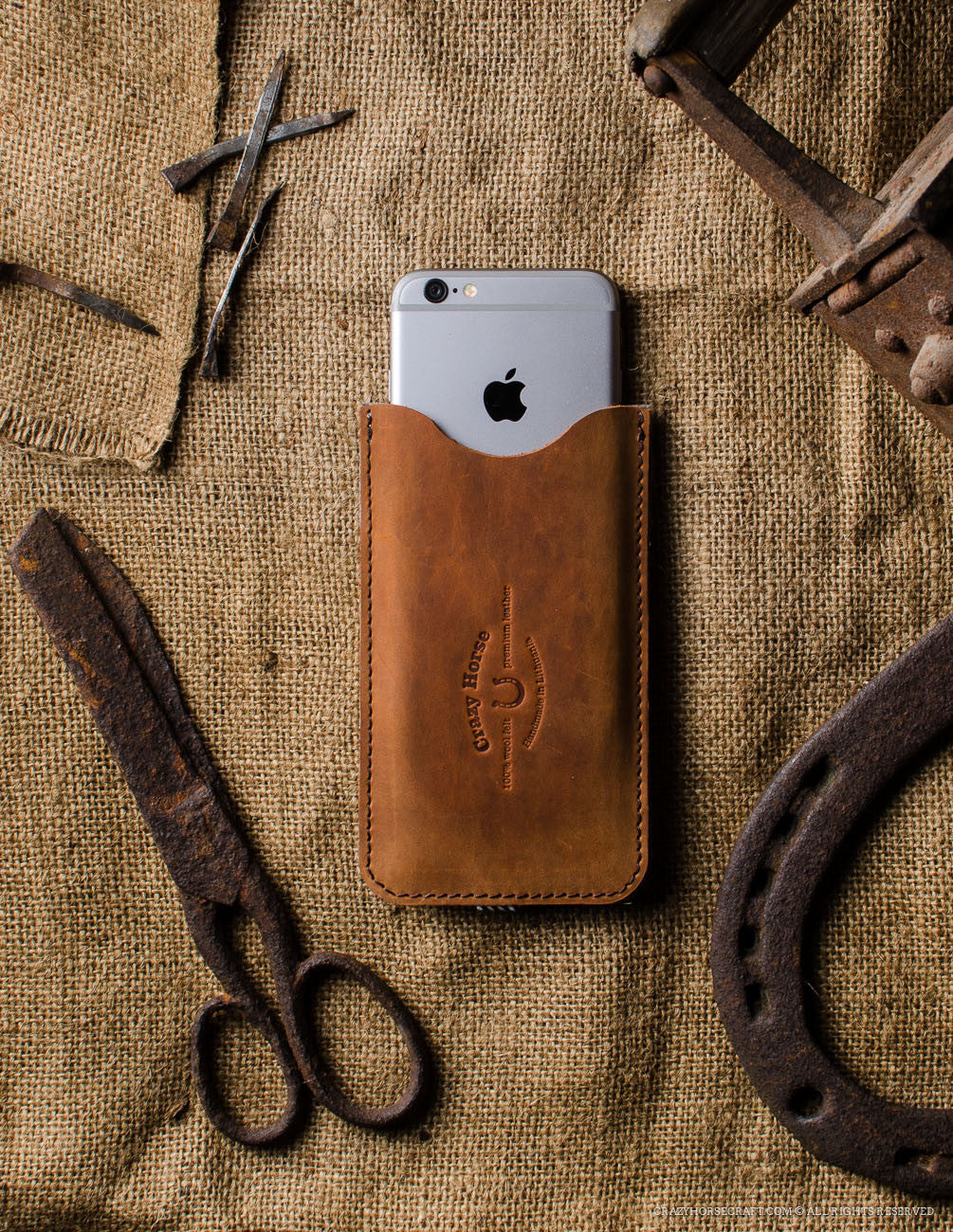Leather Orange iphone 6s Case wool felt handmade front