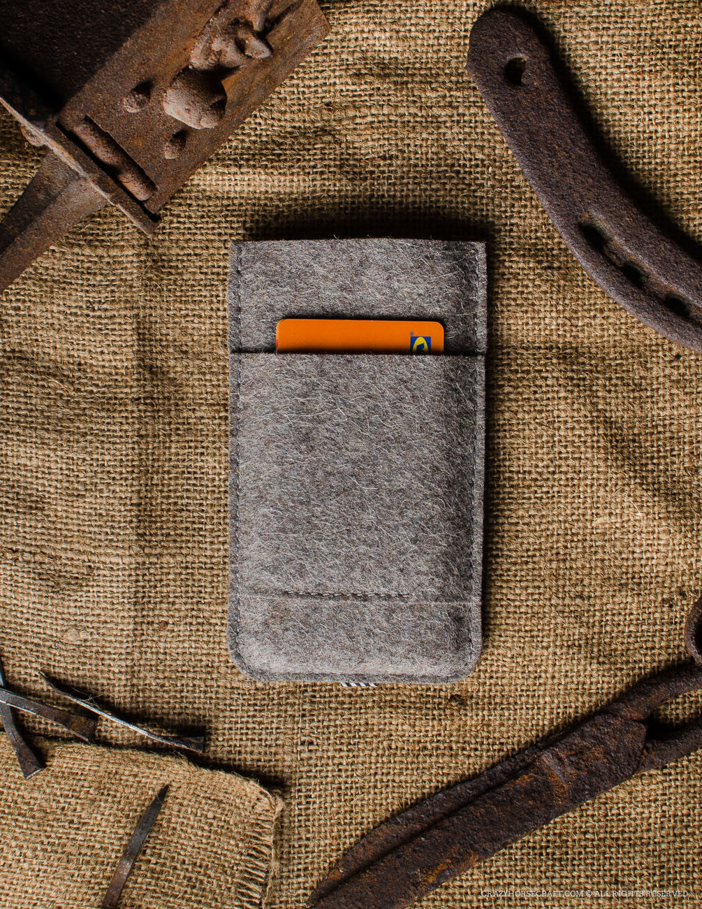 Leather Orange iphone 6s Case wool felt handmade back