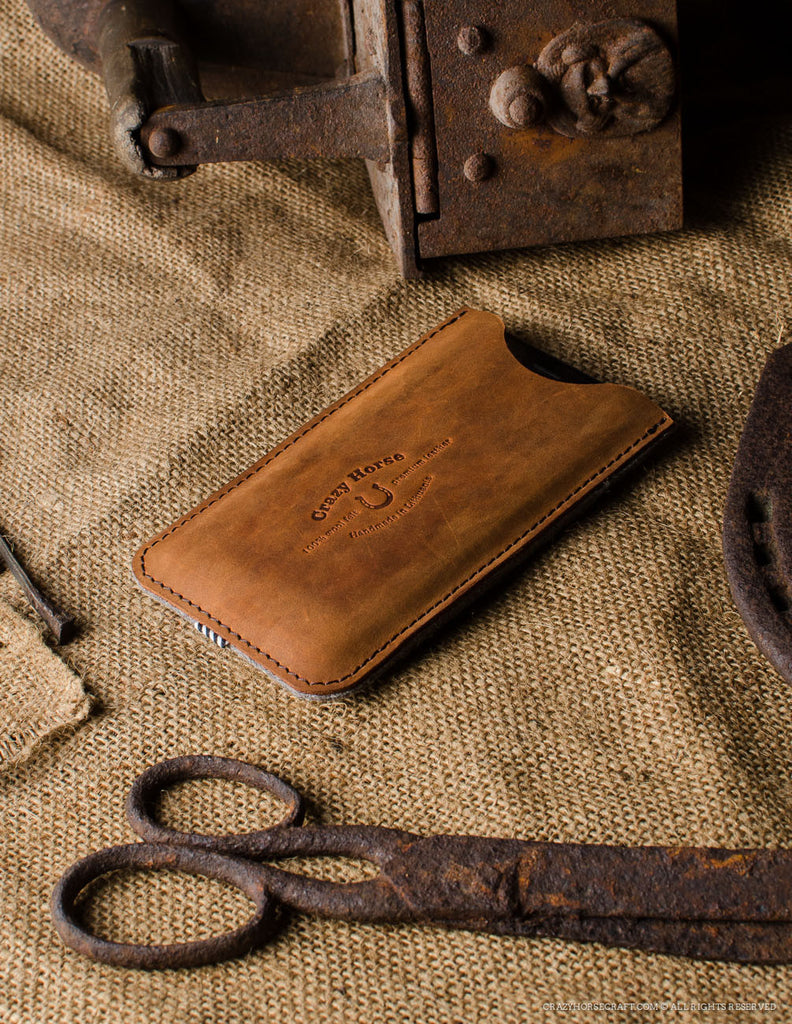 Leather Orange iphone 6s Case wool felt handmade