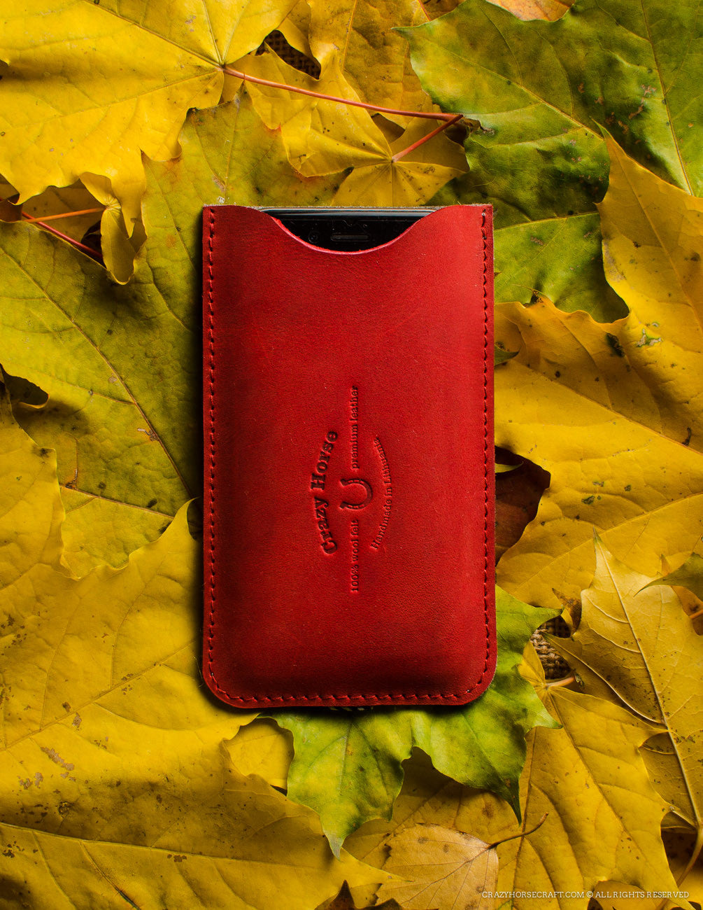 Leather Red Iphone 6s case wool felt with cardholder