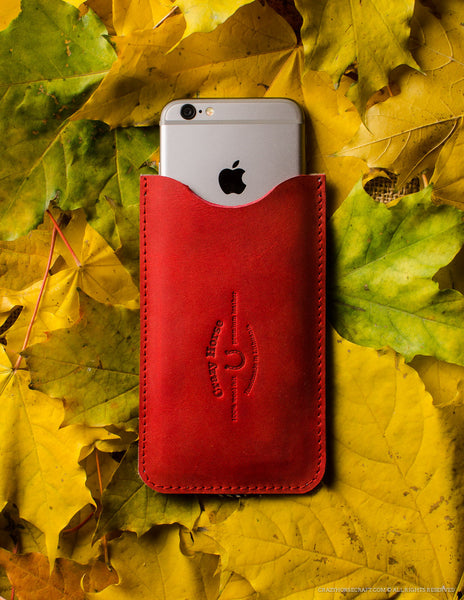 Leather iPhone Case with Card Pocket | Autumn Red – Crazy